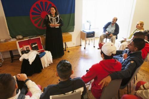 Roma kulturklass från Nytorpskolan i Stockholm kom på besök till museet.